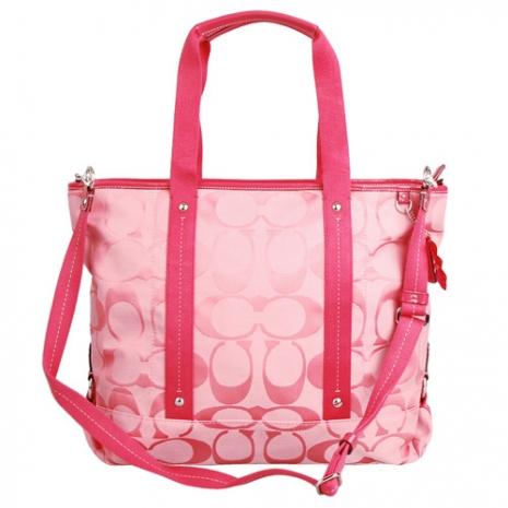 COACH 經典logo織布雙槓兩用購物包-粉紅.大