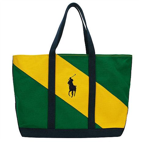 POLO 經典戰馬雙配色帆布肩背托特包(大/綠+黃)
