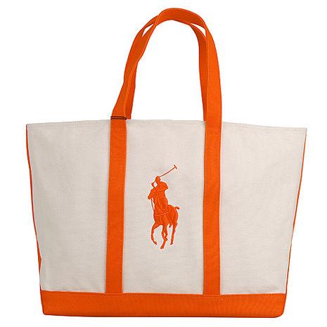 POLO 經典戰馬帆布肩背托特包(大/米白+橘)