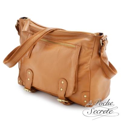 La Poche Secrete 真皮包包-時尚韓風經典Leather學院包-焦糖咖