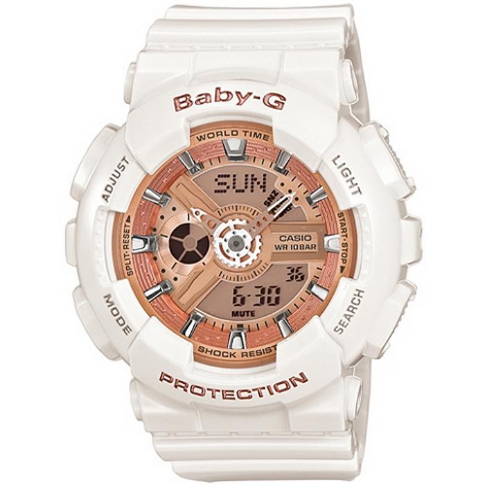 Baby-G 華麗冒險PK女錶-白x橘金 BA-110-7A1
