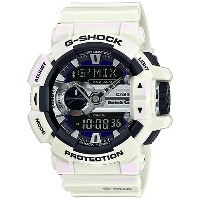 G-SHOCK GMIX GBA-400音樂控制系列錶款-白X藍 GBA-400-7C