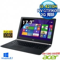Acer VN7-791G-513J 17.3吋FHD高畫質筆電(i5-4210H/8G/2G獨顯/1TB+128G SSD/WIN8.1)