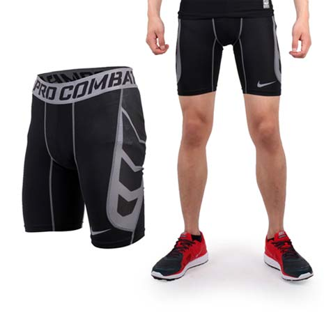 【NIKE】PRO COMBAT 男緊身短褲-緊身褲 健身 運動內褲 黑灰