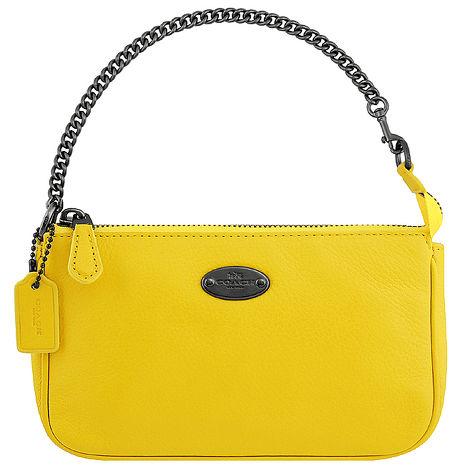 COACH 皮革壓紋鍊帶手提包-黃色