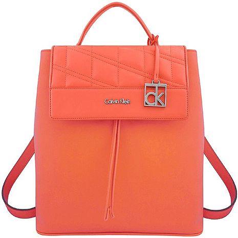 Calvin Klein 皮革壓紋後背包-粉橘色 app