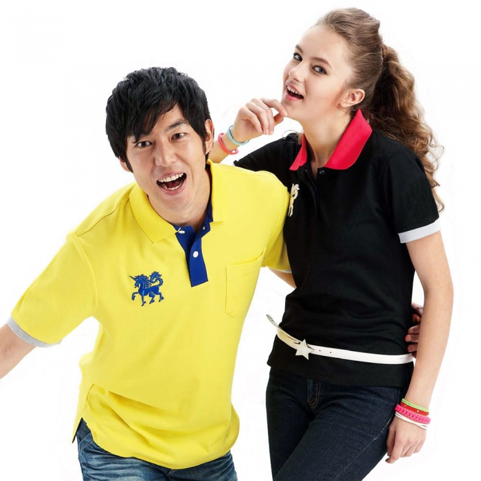 【LEIDOOE】76283 黑配紅領假兩件女版短袖POLO衫