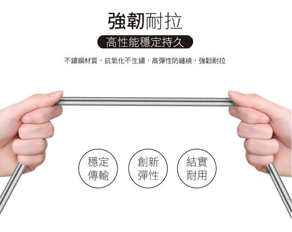 Golf USB 2.0 轉 Type-C 鋅合金接頭彈簧傳輸線1M