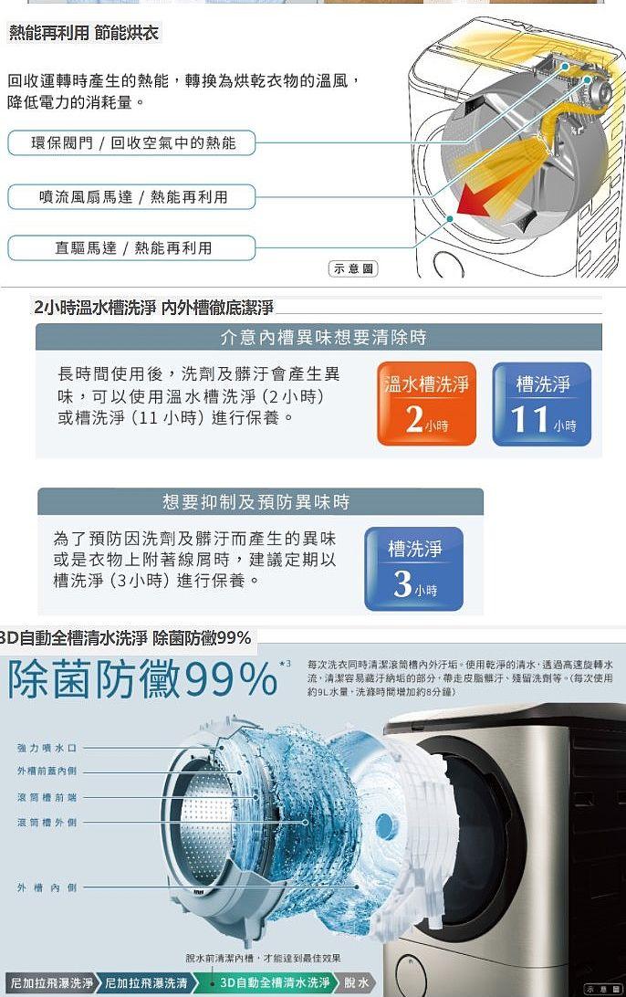 【送王品餐券3張】日立12.5公斤溫水滾筒(與BDNV125FH同款)洗衣機星燦白BDNV125FHW(分享送500元)