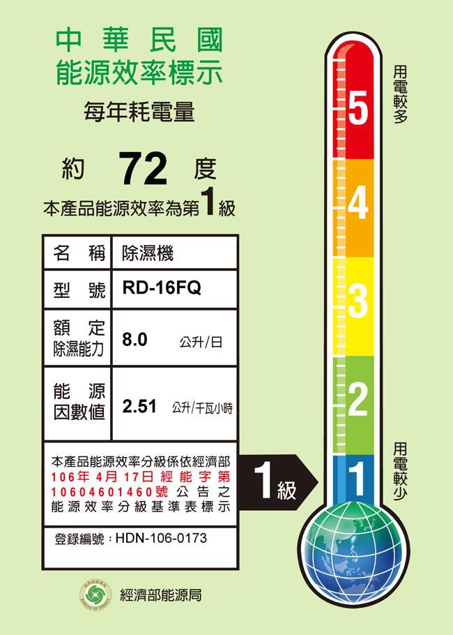 【日立HITACHI】8L 除濕機 RD-16FQ/FR(除濕機特賣)
