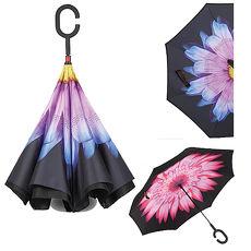 【花纹反向伞】抗UV防风免持C型手柄晴雨伞/站立伞-两色任选