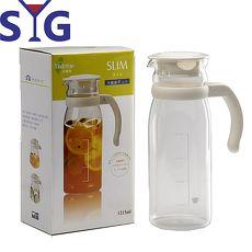 SYG精緻玻璃耐熱涼水壺1215cc-白蓋刻度