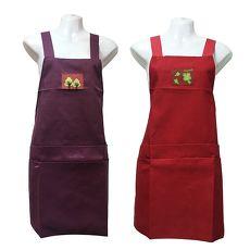 素色四口袋圍裙GH503-紅紫二入任組