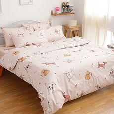 【eyah】100%精梳純棉雙人被套床包四件組-寵物家族