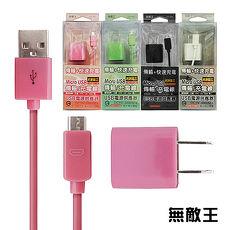 無敵王 Micro USB傳輸/充電線+USB電源供應器(粉綠黑白 四色可選)JIK-066黑