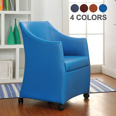 特賣↘【德萊妮】DIY薇拉單人沙發椅/電腦椅/休閒椅/工作椅/皮沙發椅(四色)