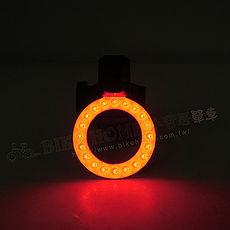 BIKEGUY COB 紅光LED警示燈2段模式造型後燈-圓環型
