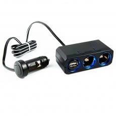 【日本槌屋YAC】12V延長線兩孔附USB插座PZ-610(汽車|擴充|充電器)