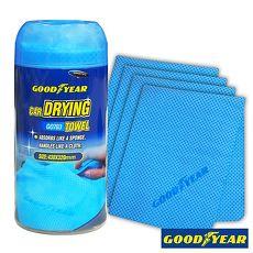【Goodyear固特異】萬用吸水巾4入-GO703 (汽車︱清潔︱打蠟︱洗車布︱海棉)