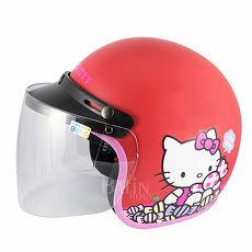 【Hello Kitty】Candy 成人機車安全帽-紅 附 防護鏡片