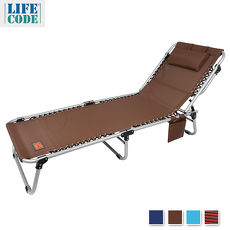 【LIFECODE】特斯林可調段零重力折疊床(可平躺)-附枕頭+置物側袋-咖啡/酒紅/天藍/藏青色