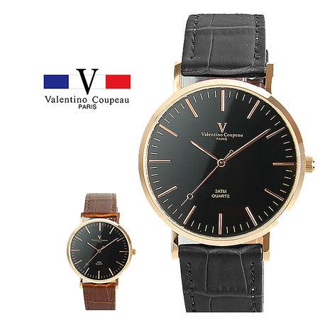 【Valentino范倫鐵諾】Black Gold 經典時尚皮革手錶 (黑/咖啡) [特賣]