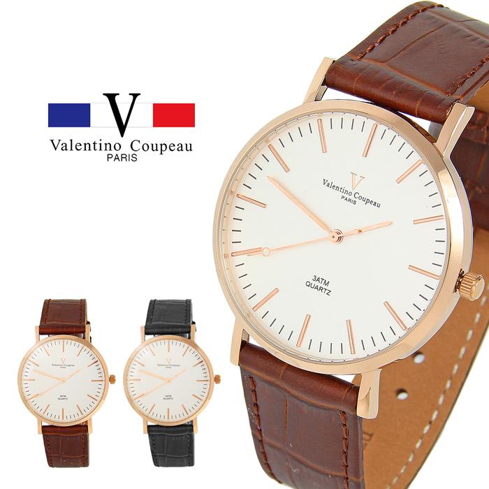 【Valentino范倫鐵諾】Rose Gold 經典時尚皮革手錶 (黑/咖啡) [特賣]