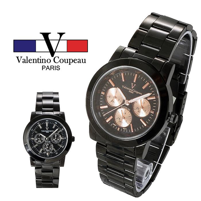[買一送一]【Valentino范倫鐵諾】男錶-精密黑鋼炫彩三眼手腕錶 (黑/金色) [特賣]金眼