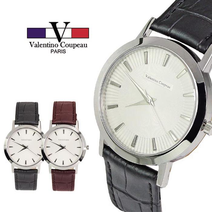[買一送一]【Valentino范倫鐵諾】簡約立體皮革手錶 (黑/咖啡) [特賣]