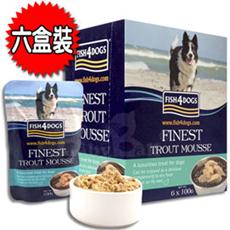 【海洋之星FISH4DOGS】海藻精華鱒魚慕斯 (犬用/6盒裝/100g*36入)