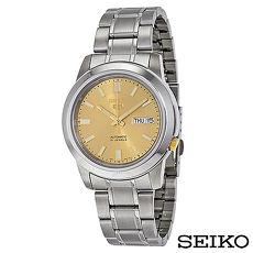 SEIKO精工 精工5日本製造夜光針Goldtone不鏽鋼男士手錶 SNKK13J1