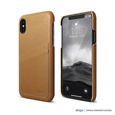 elago iPhone X 義大利手作真皮手機保護殼-皮革棕