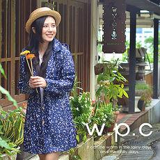 【w.p.c.】星星釦子款。時尚雨衣/風衣(R1032)_深藍色