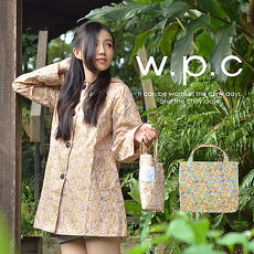 【w.p.c.】後腰釦帶款。時尚雨衣/風衣(R1015)_(棕黃碎花)