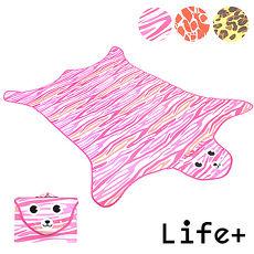 【Life Plus】動物叢林  造型野餐墊/遊戲墊_加大款 (粉色_虎紋)