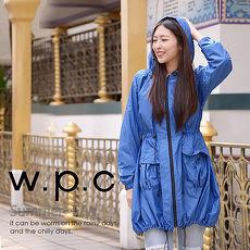 【w.p.c】個性軍裝款。時尚雨衣/風衣(R1040)_寶藍