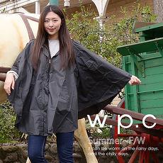 【w.p.c】垂墜斗篷款。時尚雨衣/風衣(R1004)_黑色