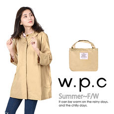 【w.p.c】寬版七分袖。時尚雨衣/風衣R1017_卡其