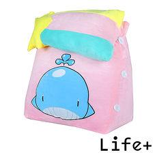 【Life Plus】萌趣造型舒壓絨毛萬用靠枕/抱枕/腰靠枕(鯨魚)