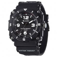 JAGA 捷卡 AQ934-A 運動休閒風指針錶-黑/52mm