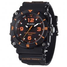 JAGA 捷卡 AQ934-AI 運動休閒風指針錶-黑橙/52mm