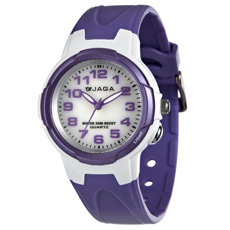 JAGA 捷卡 AQ71A-DJ 色彩繽紛夜光防水指針錶-白紫/39mm