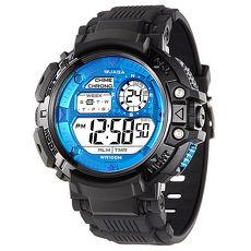 JAGA 捷卡 M1086-AE 時尚休閒運動多功能電子錶-黑藍/50mm