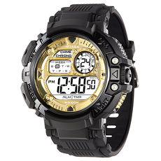 JAGA 捷卡 M1086-AL 時尚休閒運動多功能電子錶-黑金/50mm