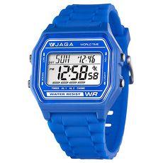 JAGA 捷卡 M1103-E 繽紛色彩馬卡龍多功能電子錶-藍/42mm