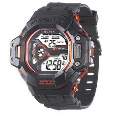 JAGA 捷卡 M1120-AI 超越時空多功能電子錶-黑橙