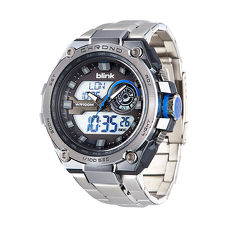JAGA 捷卡AD1161-CE blink 金鋼戰士雙顯多功能電子錶-銀藍
