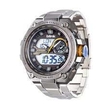 JAGA 捷卡AD1161-CH blink 金鋼戰士雙顯多功能電子錶-銀咖啡