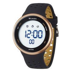 JAGA 捷卡 M1185-AL1科技時尚運動型電子錶-黑金白