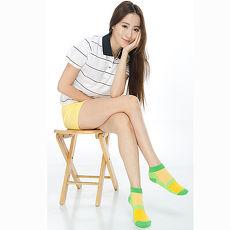 【KEROPPA】可諾帕細針毛巾底氣墊束底女短襪x4雙C91002綠配黃